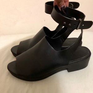 Black Cuffed Ankle Strapped Sandals